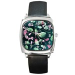 Modern Green And Pink Leaves Square Metal Watch Front