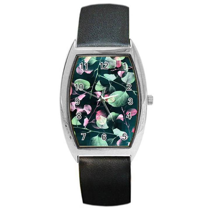 Modern Green And Pink Leaves Barrel Style Metal Watch