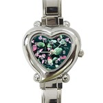 Modern Green And Pink Leaves Heart Italian Charm Watch Front