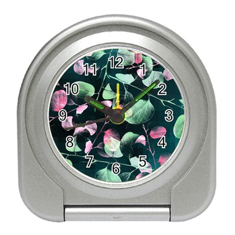 Modern Green And Pink Leaves Travel Alarm Clocks