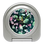 Modern Green And Pink Leaves Travel Alarm Clocks Front