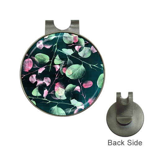 Modern Green And Pink Leaves Hat Clips with Golf Markers