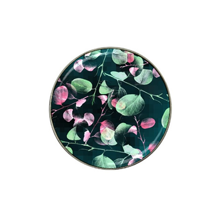 Modern Green And Pink Leaves Hat Clip Ball Marker