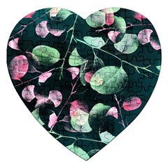 Modern Green And Pink Leaves Jigsaw Puzzle (heart)