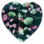 Modern Green And Pink Leaves Jigsaw Puzzle (Heart) Front