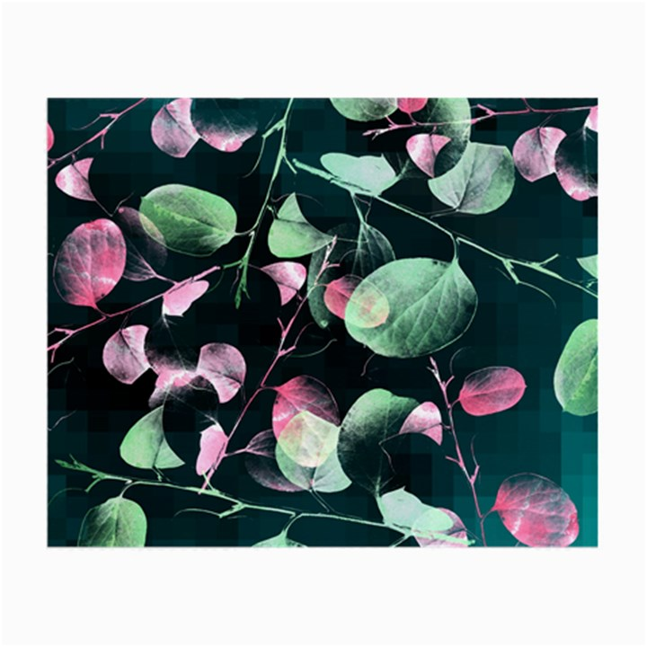 Modern Green And Pink Leaves Small Glasses Cloth