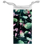 Modern Green And Pink Leaves Jewelry Bags Back