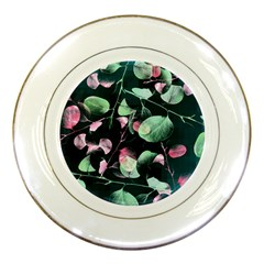 Modern Green And Pink Leaves Porcelain Plates