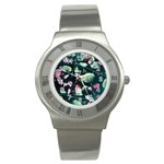 Modern Green And Pink Leaves Stainless Steel Watch Front