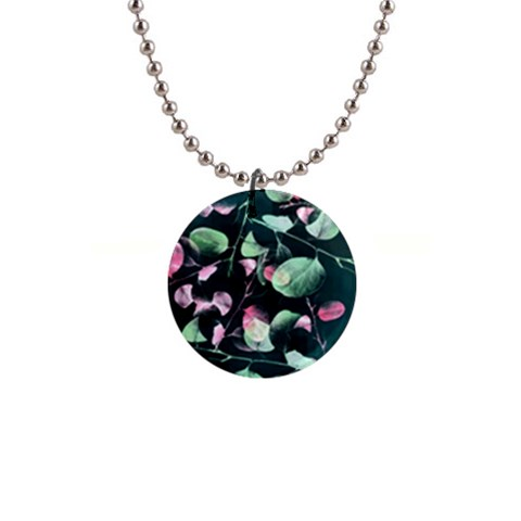 Modern Green And Pink Leaves Button Necklaces