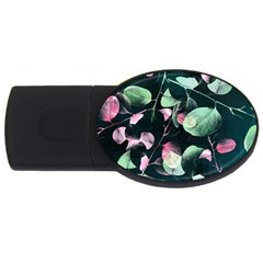 Modern Green And Pink Leaves Usb Flash Drive Oval (4 Gb)