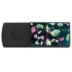 Modern Green And Pink Leaves USB Flash Drive Rectangular (4 GB)