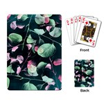 Modern Green And Pink Leaves Playing Card Back