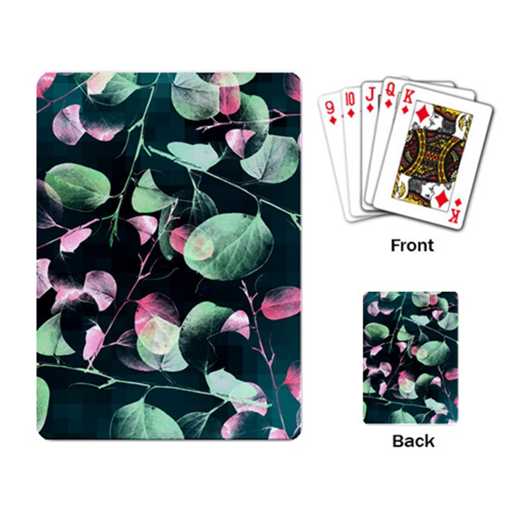 Modern Green And Pink Leaves Playing Card