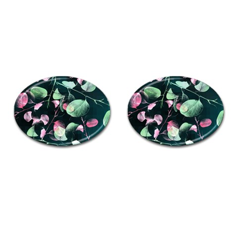 Modern Green And Pink Leaves Cufflinks (Oval)
