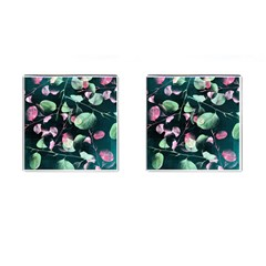 Modern Green And Pink Leaves Cufflinks (Square)