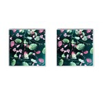 Modern Green And Pink Leaves Cufflinks (Square) Front