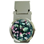 Modern Green And Pink Leaves Money Clip Watches Front