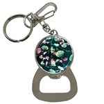 Modern Green And Pink Leaves Bottle Opener Key Chains Front