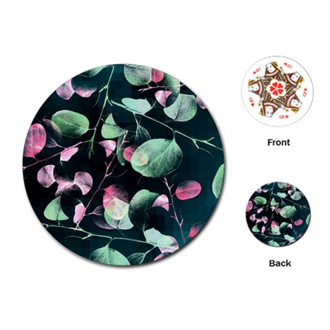 Modern Green And Pink Leaves Playing Cards (Round)