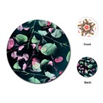 Modern Green And Pink Leaves Playing Cards (Round)  Front