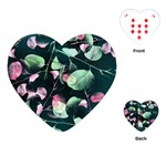 Modern Green And Pink Leaves Playing Cards (Heart)  Front