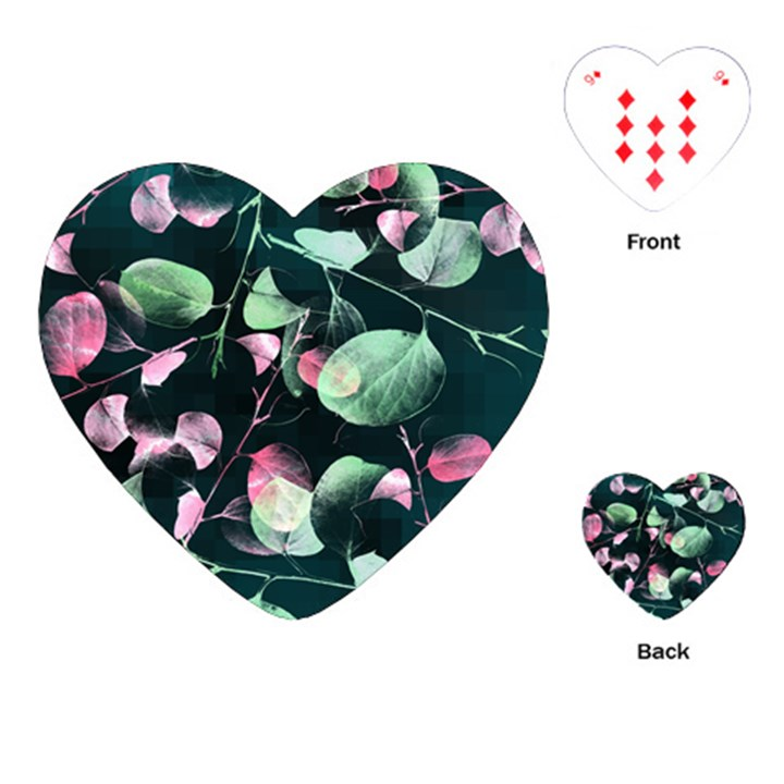 Modern Green And Pink Leaves Playing Cards (Heart)
