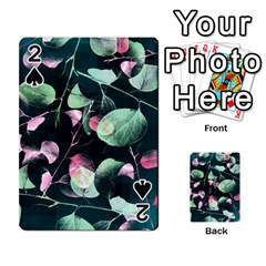 Modern Green And Pink Leaves Playing Cards 54 Designs