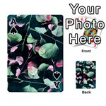 Modern Green And Pink Leaves Playing Cards 54 Designs  Front - SpadeA