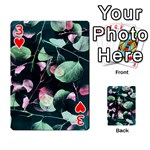 Modern Green And Pink Leaves Playing Cards 54 Designs  Front - Heart3