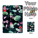 Modern Green And Pink Leaves Playing Cards 54 Designs  Front - Heart5