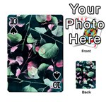 Modern Green And Pink Leaves Playing Cards 54 Designs  Front - Spade10