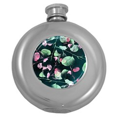 Modern Green And Pink Leaves Round Hip Flask (5 oz)