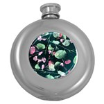 Modern Green And Pink Leaves Round Hip Flask (5 oz) Front