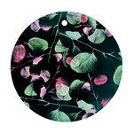 Modern Green And Pink Leaves Round Ornament (Two Sides)  Back