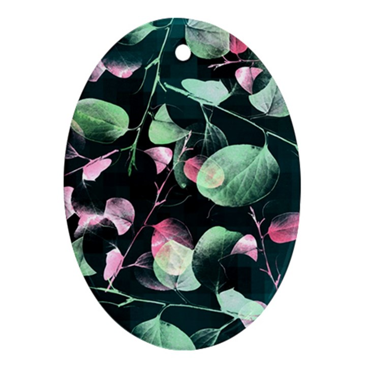 Modern Green And Pink Leaves Oval Ornament (Two Sides)