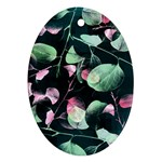 Modern Green And Pink Leaves Oval Ornament (Two Sides) Back