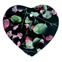 Modern Green And Pink Leaves Heart Ornament (2 Sides)