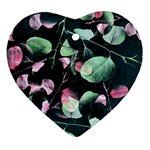 Modern Green And Pink Leaves Heart Ornament (2 Sides) Back