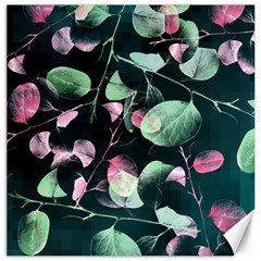 Modern Green And Pink Leaves Canvas 16  X 16