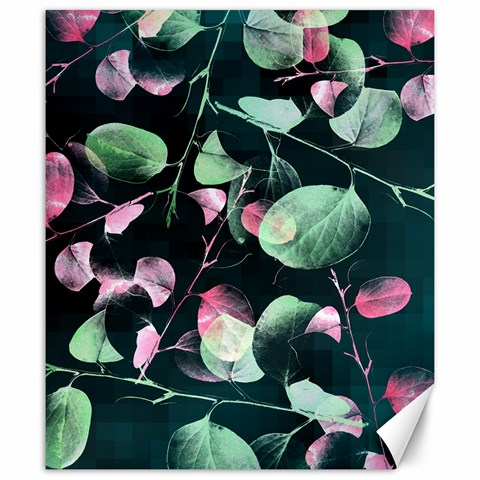 Modern Green And Pink Leaves Canvas 20  x 24