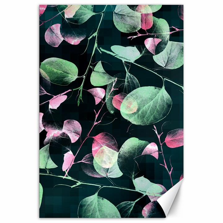 Modern Green And Pink Leaves Canvas 20  x 30