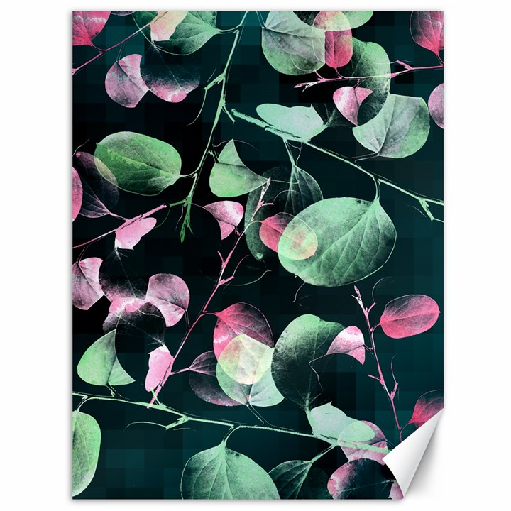 Modern Green And Pink Leaves Canvas 36  x 48