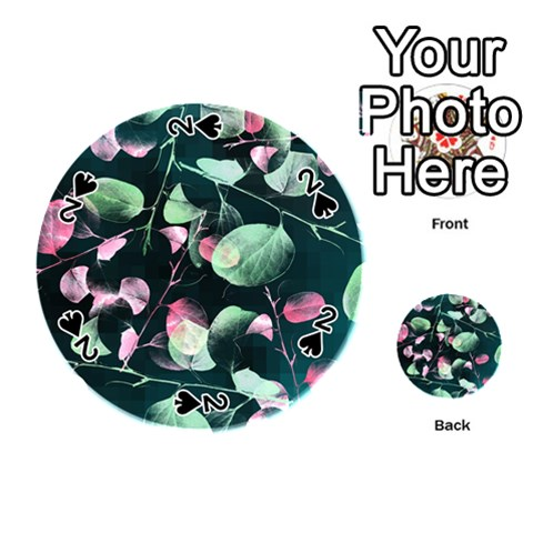 Modern Green And Pink Leaves Playing Cards 54 (Round)