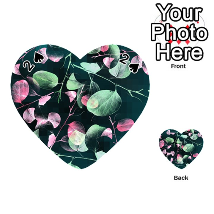 Modern Green And Pink Leaves Playing Cards 54 (Heart)