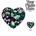 Modern Green And Pink Leaves Playing Cards 54 (Heart)  Front - Heart7