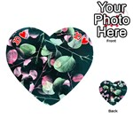 Modern Green And Pink Leaves Playing Cards 54 (Heart)  Front - Heart10