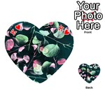 Modern Green And Pink Leaves Playing Cards 54 (Heart)  Front - HeartK