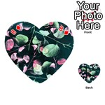 Modern Green And Pink Leaves Playing Cards 54 (Heart)  Front - Diamond8
