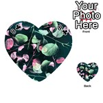 Modern Green And Pink Leaves Playing Cards 54 (Heart)  Front - Club8